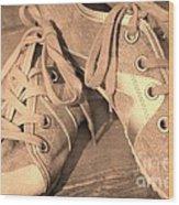 Vintage Sneakers Wood Print