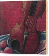 Violin With Apples Wood Print