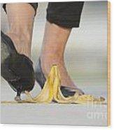 Walking On Banana Peel Wood Print