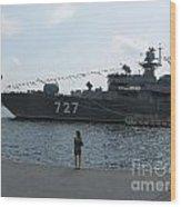 warship in Peterburg Wood Print