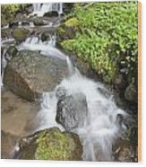 Water Cascading Over Rocks, Mount Hood Wood Print