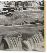 Waterfalls With Fresh Snow Thunder Bay Wood Print by Susan Dykstra