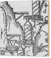 Watermill, Reversed Archimedean Screw Wood Print