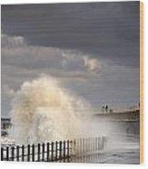 Waves Crashing, Sunderland, Tyne And Wood Print by John Short
