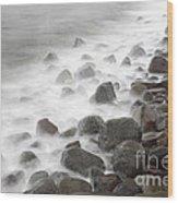 Waves Hitting The Shore Wood Print