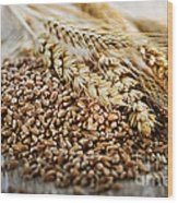 Wheat Ears And Grain Wood Print by Elena Elisseeva