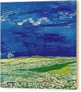 Wheat Field Under Clouded Sky Wood Print