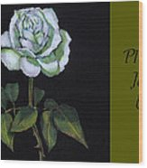 White Rose Invitation Card Wood Print