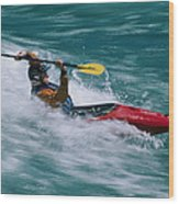 Whitewater Kayaker Surfing A Standing Wood Print
