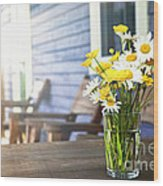 Wildflowers Bouquet At Cottage Wood Print