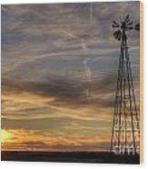 Windmill And Sunset Wood Print