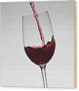 Wine Pouring Into Wine Glass Wood Print