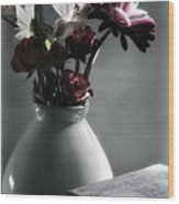 Red Floral Still Life  Wood Print