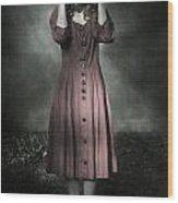 Woman And Teddy Wood Print