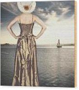 Woman At The Lake Wood Print