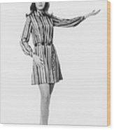 Woman Gesturing In Studio, (b&w) Wood Print