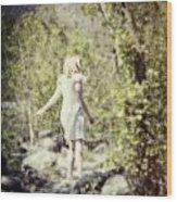 Woman In A Forest Wood Print