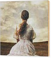 Woman On A Meadow Wood Print