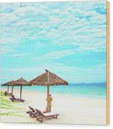 Woman On The Beach Wood Print