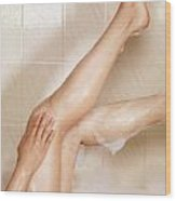 Woman Taking A Bath Wood Print by Oleksiy Maksymenko