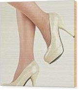 Woman Wearing High Heel Shoes Wood Print