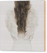 Woman With Angel Wings Wood Print