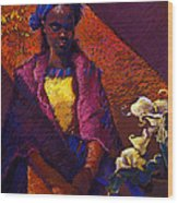 Woman With Calla Lilies Wood Print by Ellen Dreibelbis