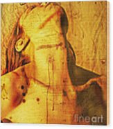 Woman With Words And Numbers Wood Print