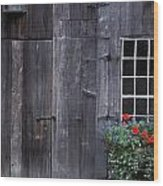 Wooden Building And Window Box Wood Print