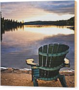 Wooden Chair At Sunset On Beach Wood Print