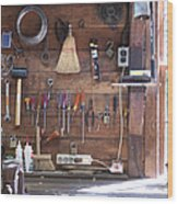 Work Bench And Tools Wood Print by Adam Crowley