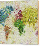 World Map Painting Wood Print