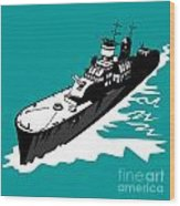 World War Two Battleship Warship Cruiser Retro Wood Print