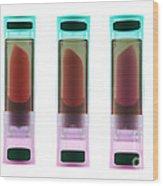 X-ray Of Lipsticks Wood Print