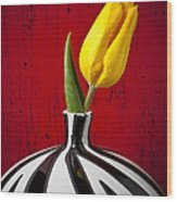 Yellow Tulip In Striped Vase Wood Print
