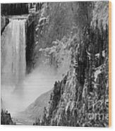 Yellowstone Waterfalls In Black And White Wood Print