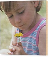 Young Girl With A Flower Wood Print by Ian Boddy