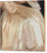 Young Lady Sitting In Satin Gown Wood Print by Jill Battaglia