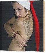 Young Woman Wearing Santa Hat Wood Print by Ilan Rosen