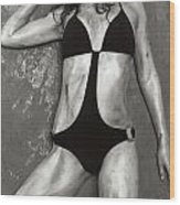 Young Woman With Rope Bondage Standing At A Window Wood Print