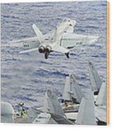 An Fa-18e Super Hornet Launches Wood Print