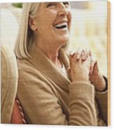 Happy Senior Woman Wood Print