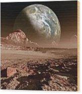 Earth-like Planet, Artwork Wood Print