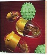 Medical Nanorobots, Artwork Wood Print