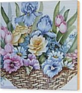 1119 B Flower Basket Wood Print