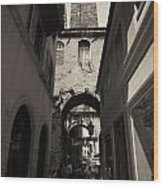 Split Old Town Wood Print