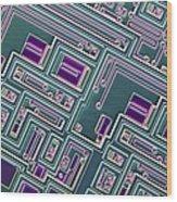 Microchip, Light Micrograph Wood Print