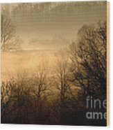 Misty Mountain Sunrise Wood Print