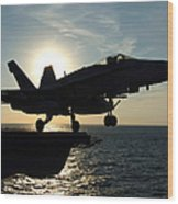 An Fa-18c Hornet Launches Wood Print by Stocktrek Images