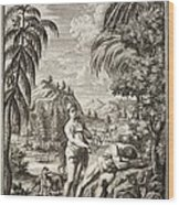 1731 Scheuchzer Creation Adam & Eve Wood Print by Paul D Stewart